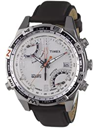 Timex Men's Intelligent Quartz Chronograph Watch with White Dial and Brown Leather Strap T49866