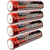 4x Kraftmax 18650 Pro Akku mit PCB Schutzschaltung - speziell für LED Taschenlampen ( 3,7V / 9,62 Wh )