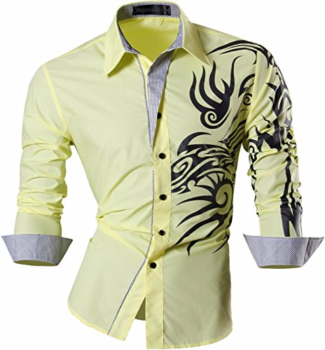 jeansian Herren Freizeit Hemden Shirt Tops Mode Langarmlig Men's Casual Dress Slim Fit 2028 Z001_Yellow