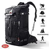 CANSHN 50L 3in1 großer Multifunktion Wanderrucksack Rucksack Herren für Outdoor Camping Reise mit trekkingrucksack (Schwarz)*