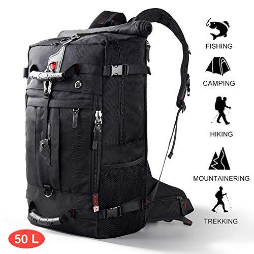 CANSHN 50L 3in1 großer Multifunktion Wanderrucksack Rucksack Herren für Outdoor Camping Reise mit trekkingrucksack (Schwarz)