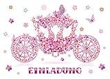12 Einladungskarten Mädchen Kindergeburtstag Prinzessin-Party Geburtstagseinladungen Einladungen Geburtstag Kinder Kartenset Kutsche