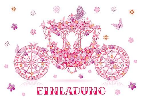ladungskarten Mädchen Kindergeburtstag Prinzessin-Party Geburtstagseinladungen Einladungen Geburtstag Kinder Kartenset Kutsche ()