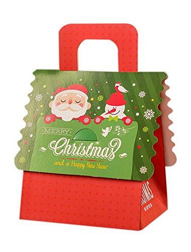 (Koala Superstore 10 PC-Weihnachtsapfel-Geschenk-Verpackenkästen, Grüne Tragbare Weihnachtsmann-Geschenkbox)