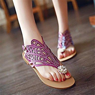 zhENfu donna pantofole & amp; flip-flops luce estiva suole PU Casual tacco piatto scintillante Glitter Purple