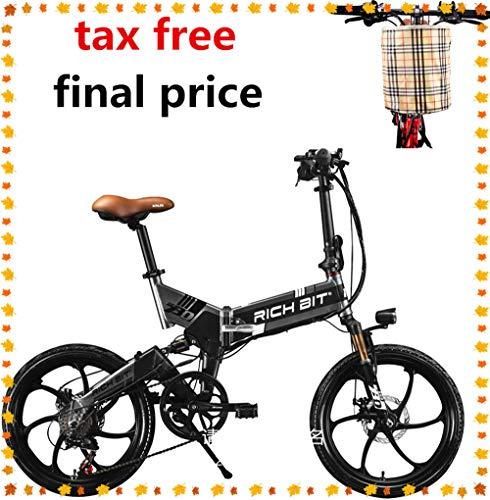 RICH BIT ZDC RT-730 Bicicleta eléctrica Plegable de 20 Pulgadas 48v 8ah batería Oculta Hidden Libre de impuestos (Negro (con...