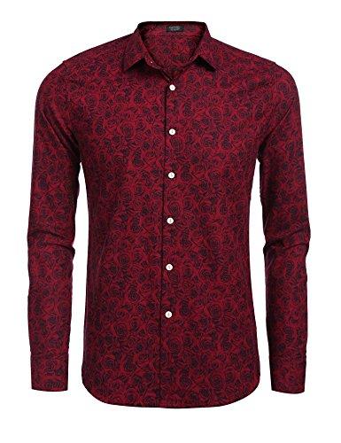 Burlady Hawaiihemd Herren Baumwolle Print Langarm T-Shirt modisch Party Club Urlaub, 23-rot und Schwarz, S -