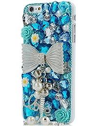 Spritech (TM) 3d Bling Cristal Hecho a mano diseño de diamantes carcasa antiarañazos Blanco Back Case, NT-13, iPhone 5S