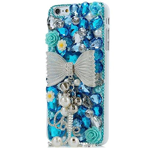 Spritech (TM) 3D handgemachte Mode Frauen Ipod Touch 6 Fall Luxus voller Diamant-Design Bling Big bowknot Quasten Loverly Blumendekor freie harte Caver iPod Touch 6 P8 Ipod