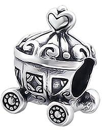 So Chic Joyas - Abalorio Charm Corazón princesa Cenicienta carro - Compatible con Pandora, Trollbeads, Chamilia, Biagi - Plata 925