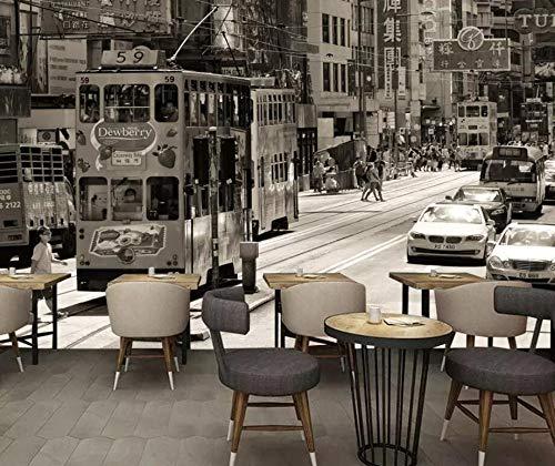 Wanghan 3D Tapete Kundenspezifische Tapete Retro- Hong Kong-Schwarzweiss-Straßenszene Fernsehhintergrundwohnzimmer-Schlafzimmer-Wandwandgemälde-150Cmx100Cm