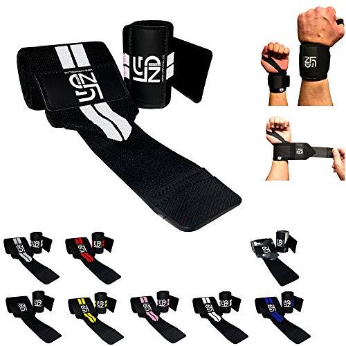 Legend Handgelenk-Bandage - Hochwertige Handgelenk-Stütze 45cm - Handgelenk-Schutz für Stabilität - Wrist-Wrap in (Weiß/Schwarz) -