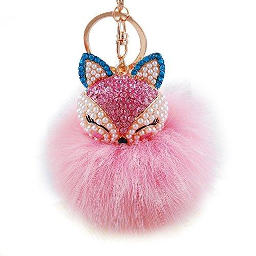 Preisvergleich Produktbild Arpoador Künstliche Fox Fell Ball Head Inlay Perle Handy Strass Anhänger Schlüsselanhänger, rose