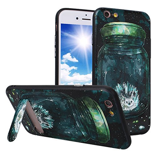 iPhone 6S Case mit Stand, iPhone 6 Hülle mit Stand, Moon mood® Handy Fall 2 in 1 Hybrid Schutzhülle für Apple iPhone 6 / iPhone 6S 4.7 Zoll Hart PC + Weich TPU Silikon Ständer Schale Backcover Handyta Muster 1