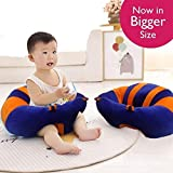 MOM'S GADGETS Premium Quality Soft Plush Chair/seat For Baby Safety Sitting/Soft Soft Plush Chair For Kids Birthday (Blue & Orange)