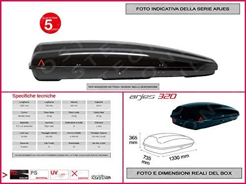 Proposteonline portabagagli Box Tetto Auto 133 x 73 x 36 cm per Smart forfour 2014 > con Barre Portapacchi portatutto mb12nv