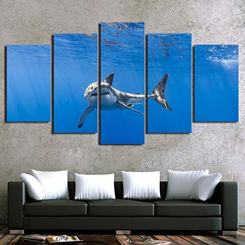 Ssckll Hd Gedruckt Modulare 5 Stück Art Shark In Ocean Decor Malerei Leinwand Wandbilder Für Wohnzimmer Mit Kunstwerk-Rahmen