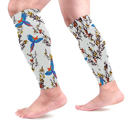 Wfispiy Birds and Flowers Calf Compression Sleeves Shin Splint Support Leg Protectors Calf Pain Relief for Running, Cycling, Travel, Sports for Men Women (1 Pair) -