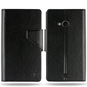 Cool Mango Business Flip Cover for Lumia 535 - 100% Premium Faux Leather Flip Case for Microsoft / Nokia Lumia 535 with 360 Degree Stitching, Magnetic Lock, Card & Currency Wallet – Limited Time Offer Pricing (Midnight Black)