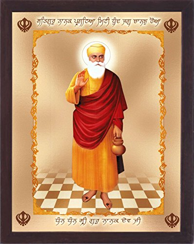 HandicraftStore gurunank Dev Ji Tragen Saint Stoff und Geben Holy Blessings, Ein Sikh Religiösen Poster mit Rahmen Muss für Jeden Sikh Religiöse Familie, Büro, Geschenk und Sikh Gurudwara