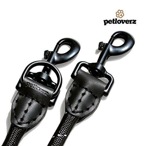 4-fach verstellbare Hundeleine | 2,80m lang | Doppelleine / Laufleine / Langlaufleine | geflochten | schwarz | Nylon | Leder-verstärkte Nähte | eingenähte Reflektoren | PETLOVERZ - 3