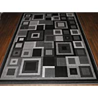 Modern Contemporary Squares Design 160cm x 230cm (Approx 8x5) In Black/Grey Available In Other Designs Top Quality Rugs