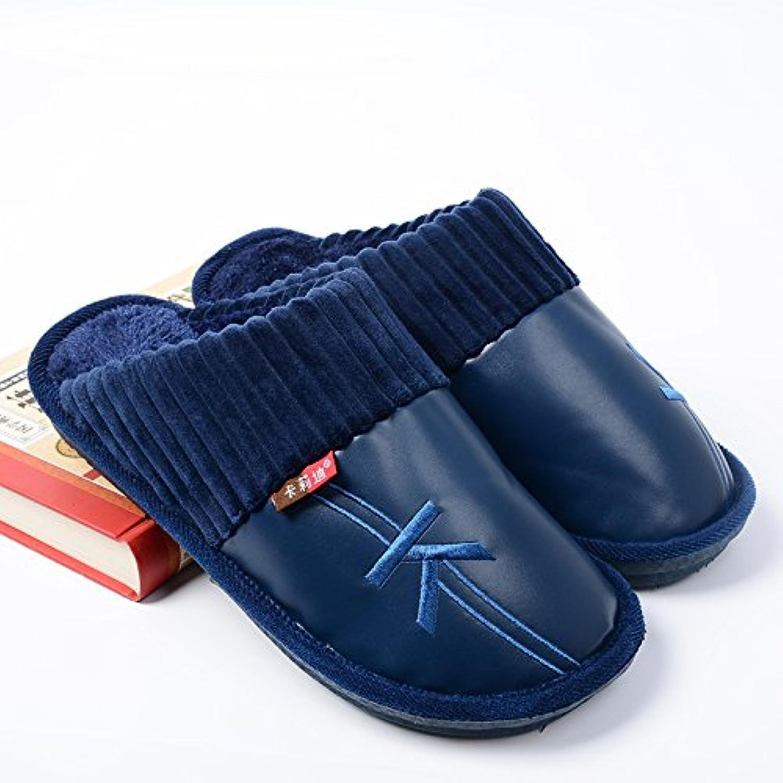 LaxBa  Glisser sur l'hiver au chaud en Fausse Fausse Fausse Fourrure Chaussons Chaussures pour hommes neige bordée d''une télévision... - B077WDYLVX - cbacfa