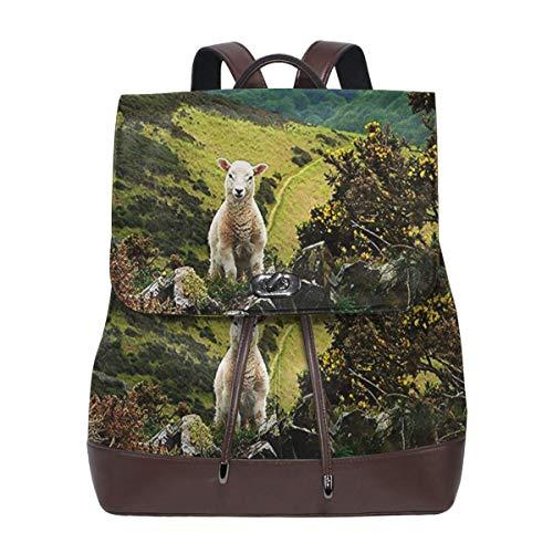 Rucksack Damen Exmoor Hills Schaf Lamm, Leder Rucksack Damen 13 Inch Laptop Rucksack Frauen Leder Schultasche Casual Daypack Schulrucksäcke Tasche Schulranzen