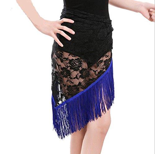 Tango Kostüm Tänzer (Kinder-Tänzer Rock Rock-Spitze-Rock-Spitze-Tuch-Hip Handtuch Weiblich Erwachsene Quasten Rock (Blau, Schwarz, Rot, Grün) , blue ,)