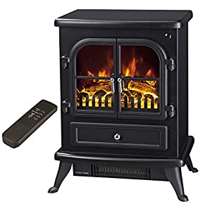 """Galleon Fires - """"Agena"""" Electric Stove with Remote Control - Realistic Flame Effect Stove - Portable - Electric Stove - Heater Electric Fire Place / Fireplace - With Real Log Flame Effect"""
