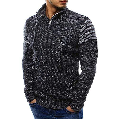 Elecenty maglione uomo invernale maglietta lavorata a maglia a maniche lunghe da uomo con spalline lunghe elasticizzate casual inverno caldo outwear