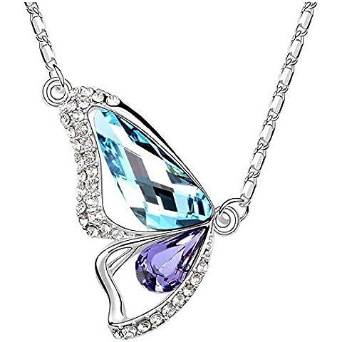 La noche estrellada los amantes de la mariposa de cristal de color con cristales brillantes 18K insectos collar de moda para mujer