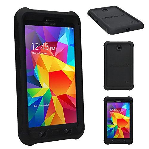 e für Samsung Galaxy Tab 4 7,0 (SM-T230 SM-T231 SM-T235), [Kinderfreundlich] Leichtes Koffer Silikon Soft Shell Anti-Rutsch-Shockproof verstärkte Ecken + Displayschutzfolie. Schwarz ()