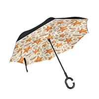 COOSUN Artistic Pattern With Watercolor Shells And Sea Stars Double Layer Inverted Umbrella Reverse Umbrella for Car and Outdoor Use Rain Windproof Waterproof UV Protection Big Straight Umbrella With C-Shaped Handle