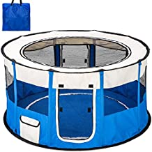 TecTake Parque para Perro Cachorros Corralito Jugar Animales Mascotas plegable 114x58 cm (diámetro x alto) azul