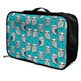 Portable Luggage Duffel Bag Owl Birds Design Travel Bags Carry-on In Trolley Handle