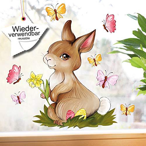 Wandtattoo-Loft Fensterbilder Frühling Fenstersticker A4 Hase mit Blume Wiederverwendbare Fensteraufkleber Ostern