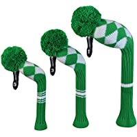 Kelly Green White Argyles Golf Headcover Set