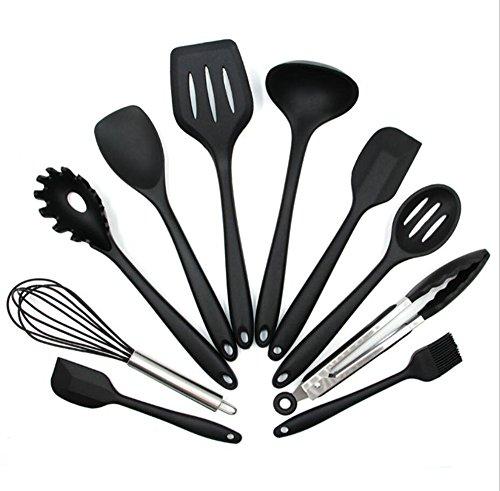 Silikon-Geschirr 10 Stück Set Antihaft-Pfanne Geschirr Set Umweltschutz Kochen Schaufel Löffel Werkzeug Küche Liefert,Black