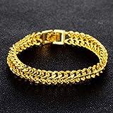 DX.OPK Bracelet en Or Jaune Véritable de 18 Carats avec Chaîne en Or Jaune pour Hommes et Femmes Bracelets 1.1cm Large Version Plate Chaîne 20cm Longueur...
