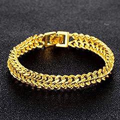 Idea Regalo - Gold Bracciale da Uomo Donna, in Oro Giallo 18K (750) Versione Ampia Oro Braccialetti 20cm Catena Lunghezza Ideali Come Regalo