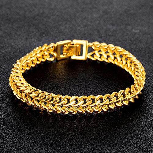 DX.OPK Bracelet en Or Jaune Véritable de 18 Carats avec Chaîne en Or Jaune pour Hommes et Femmes Bracelets 1.1cm Large Version Plate Chaîne 20cm Longueur