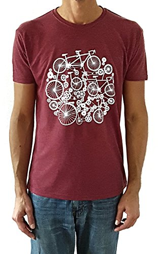 Camiseta de hombre Bicicletas - Color Burdeos Heather - Talla M - Regalo para hombre - Cumpleanos o San Valentin