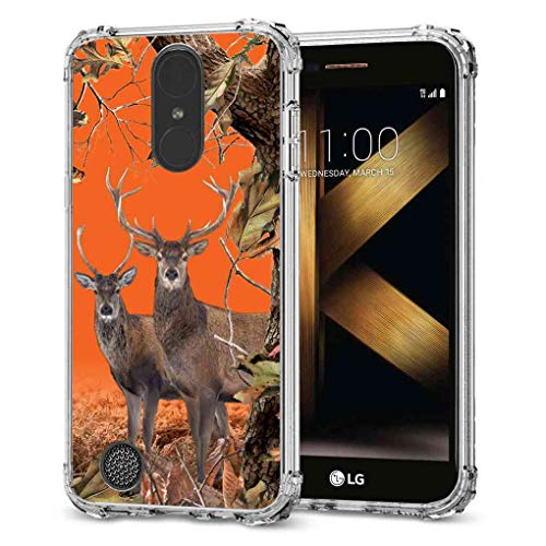 BAYKE Schutzhülle für LG K20 Plus/LG K20 Plus/LG Harmony/LG Grace/LG K10 2017, Orange Camo Couple Deer in Forest Camouflage