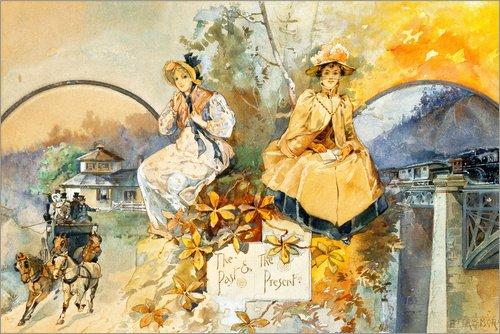 Holzbild 60 x 40 cm: Vergangenheit und Gegenwart von ARTOTHEK