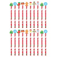 ‏‪Toyvian 20Pcs Christmas Pencils Holiday Wooden Pencils Xmas Writing Pencils Christmas Stationery Set Kids Pen Children Party Favors Students Stationery Gift (Random Type)‬‏