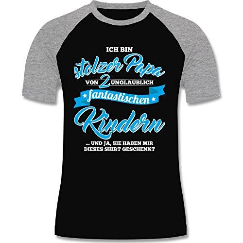 Shirtracer Vatertag - Stolzer Papa 2 Fantastische Kinder - Herren Baseball Shirt Schwarz/Grau Meliert
