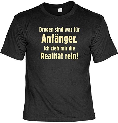 Witziges Spaß-Shirt + gratis Fun-Urkunde: Drogen sind was für Anfänger Schwarz