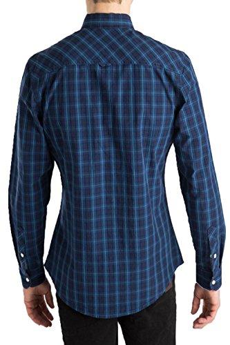 Herren Threadbare Torquay Designer Druckknöpfe Knopfleiste langärmlig kariertes Hemd Navy - Blue