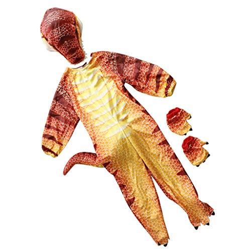 FLAMEER Dinosaurier T-Rex Jumpsuit Cosplay Kostüm für Weihnachten Halloween Party und Karneval - rot